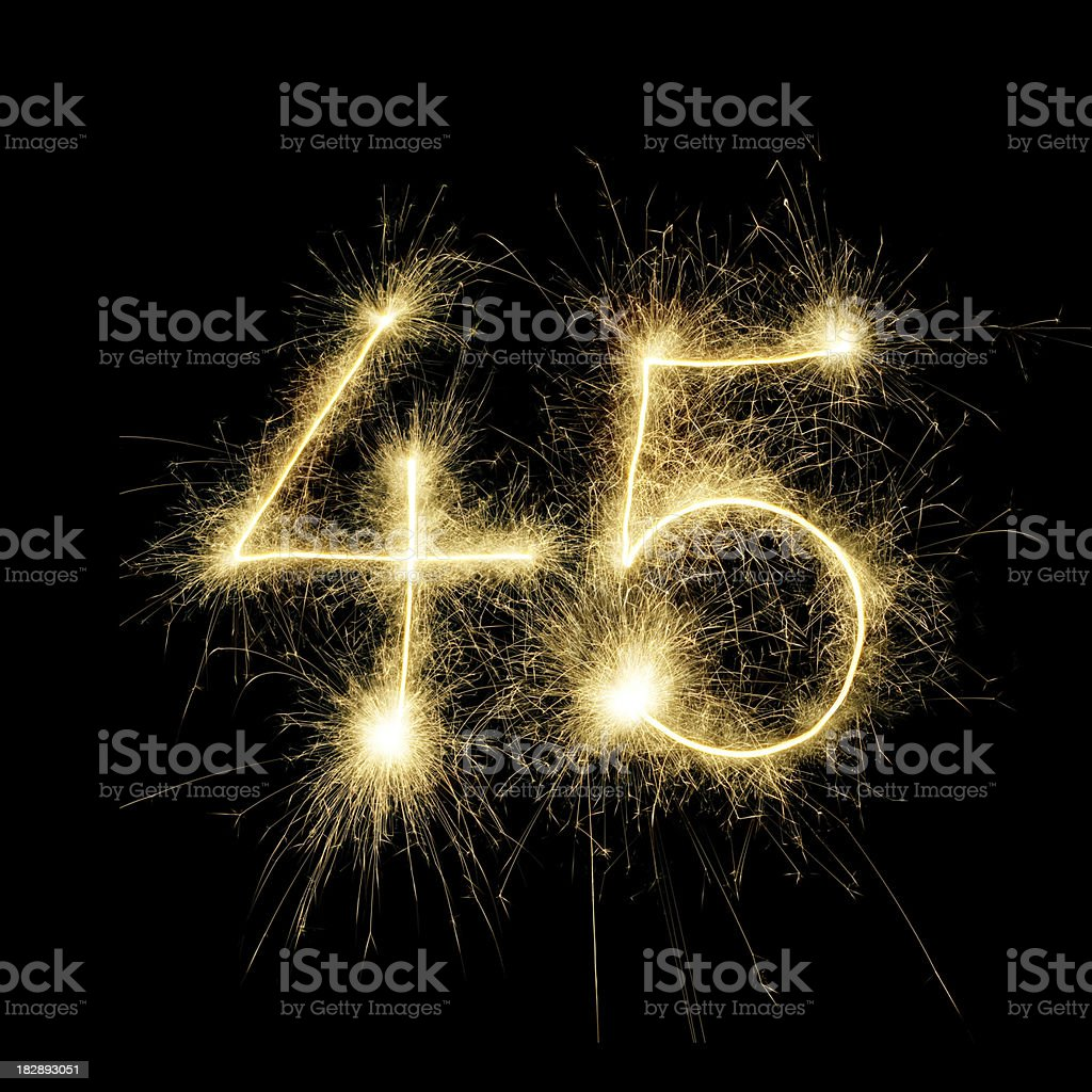 Sparkling Celebration Number Forty-Five stock photo
