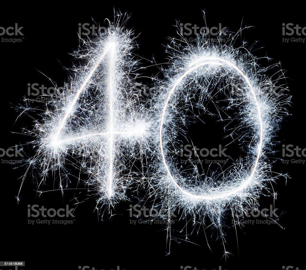Sparkling celebration number fourty 40th birthday stock photo