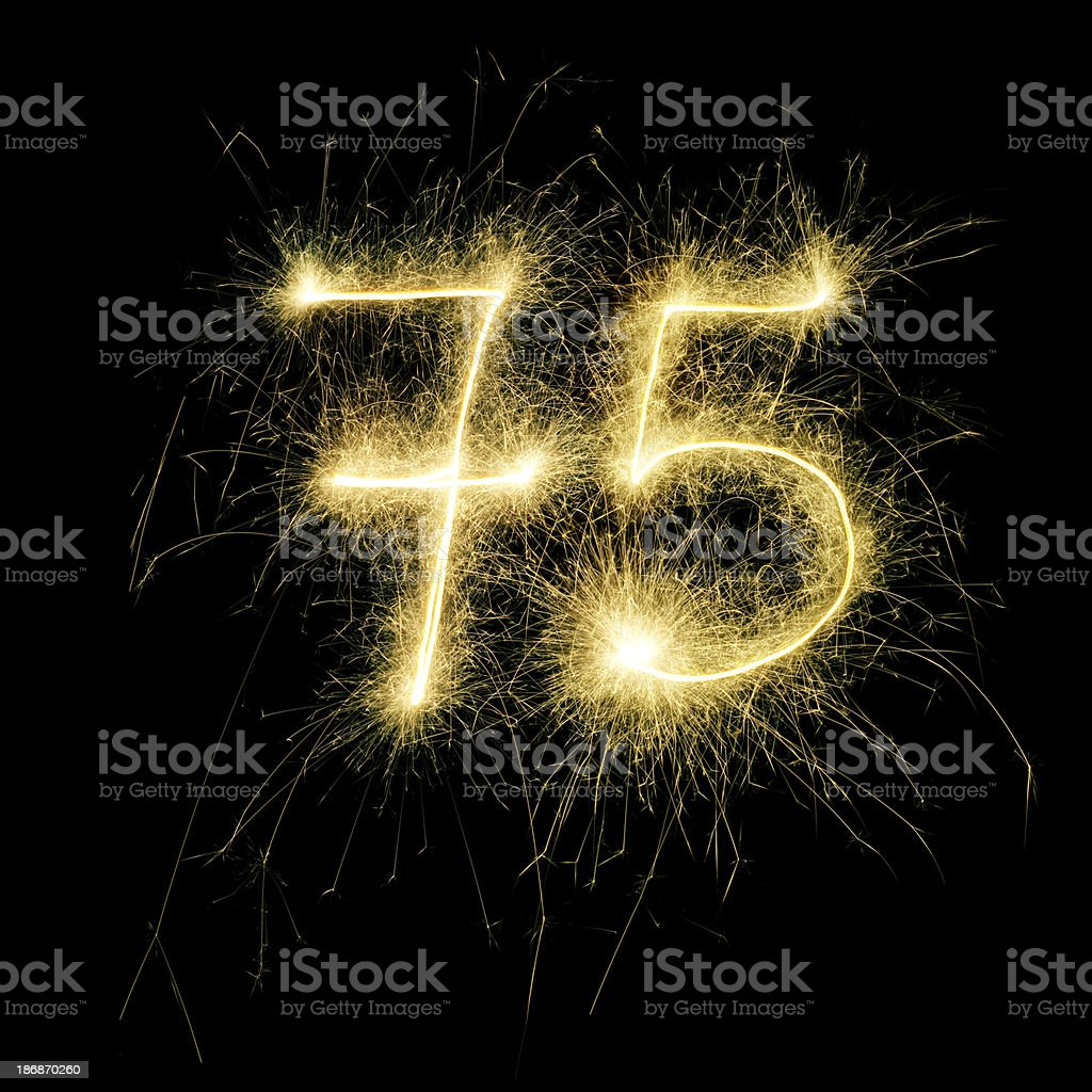 Sparkling Celebration Number Seventy-Five royalty-free stock photo