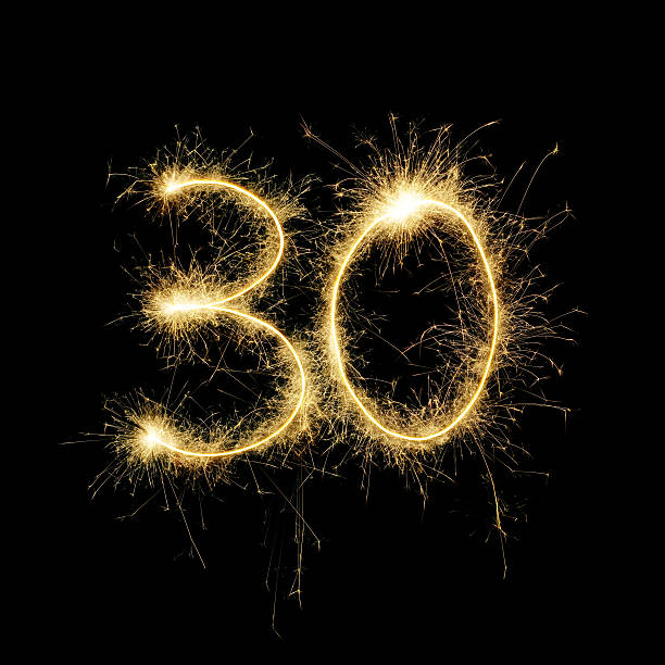 sparkling celebration number thirty - number 30 stock photos and pictures