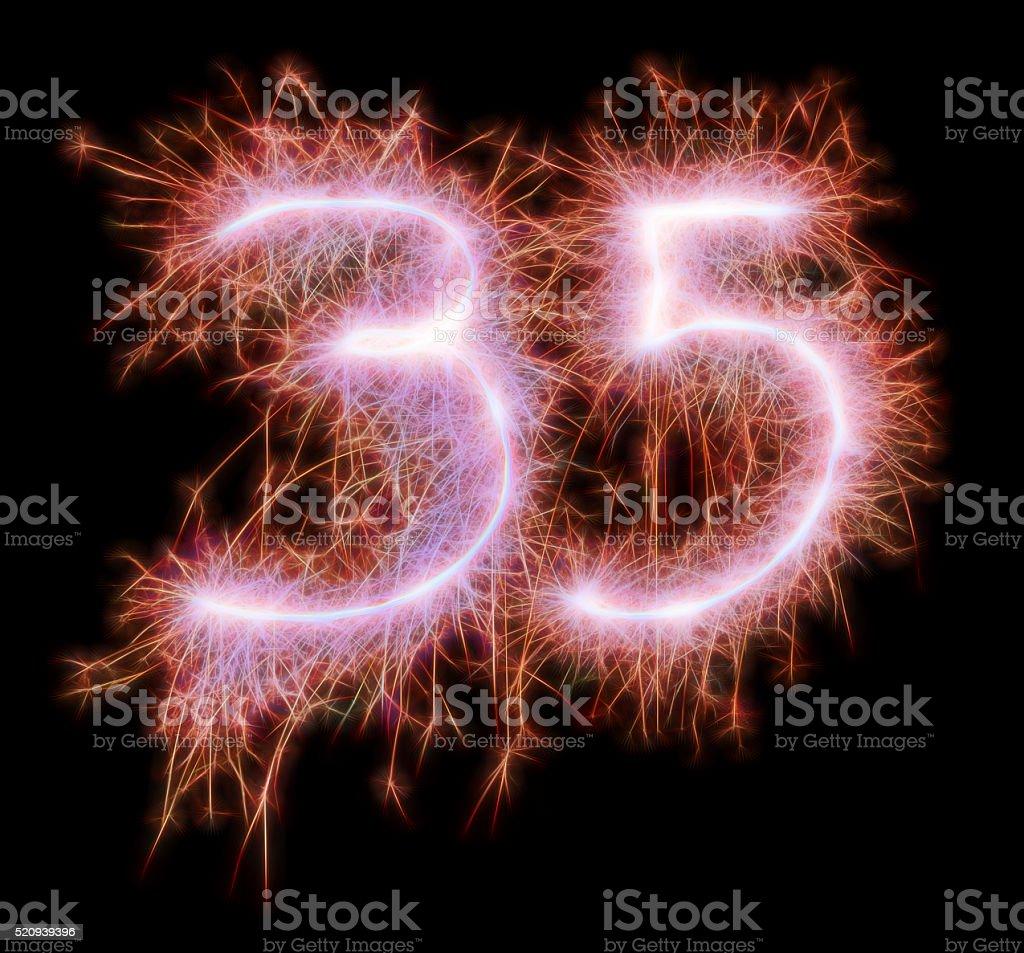 Sparkling celebration number thiryfive 35th birthday stock photo
