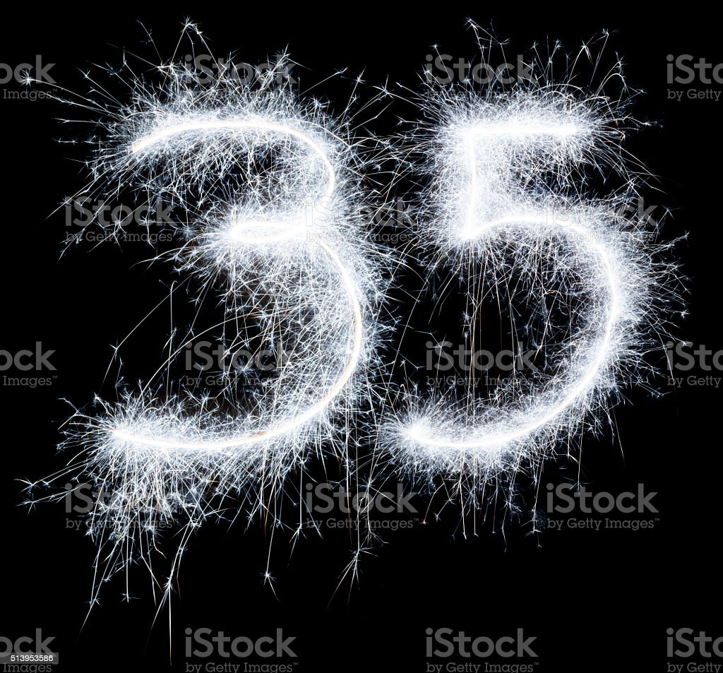 Sparkling celebration number twntyone 35th birthday stock photo