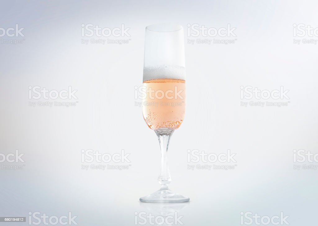 A sparkling Champagne or Prosecco glass with bubbles. stock photo