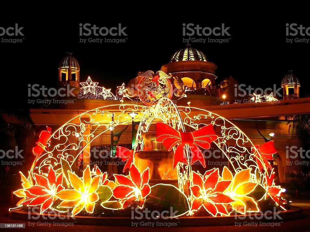 Sparkling Christmas : street decoration (Poinsettia ) royalty-free stock photo