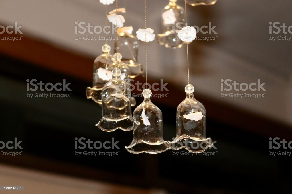Sparkling Clear Glass Bell Shaped Chandelier Stock Photo