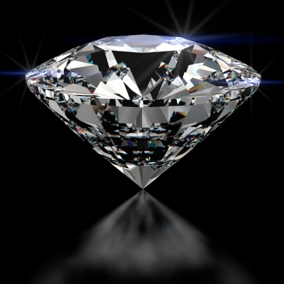 A beautiful sparkling diamond on a dark reflective surface. High quality 3d render with HDRI lighting and ray traced textures.