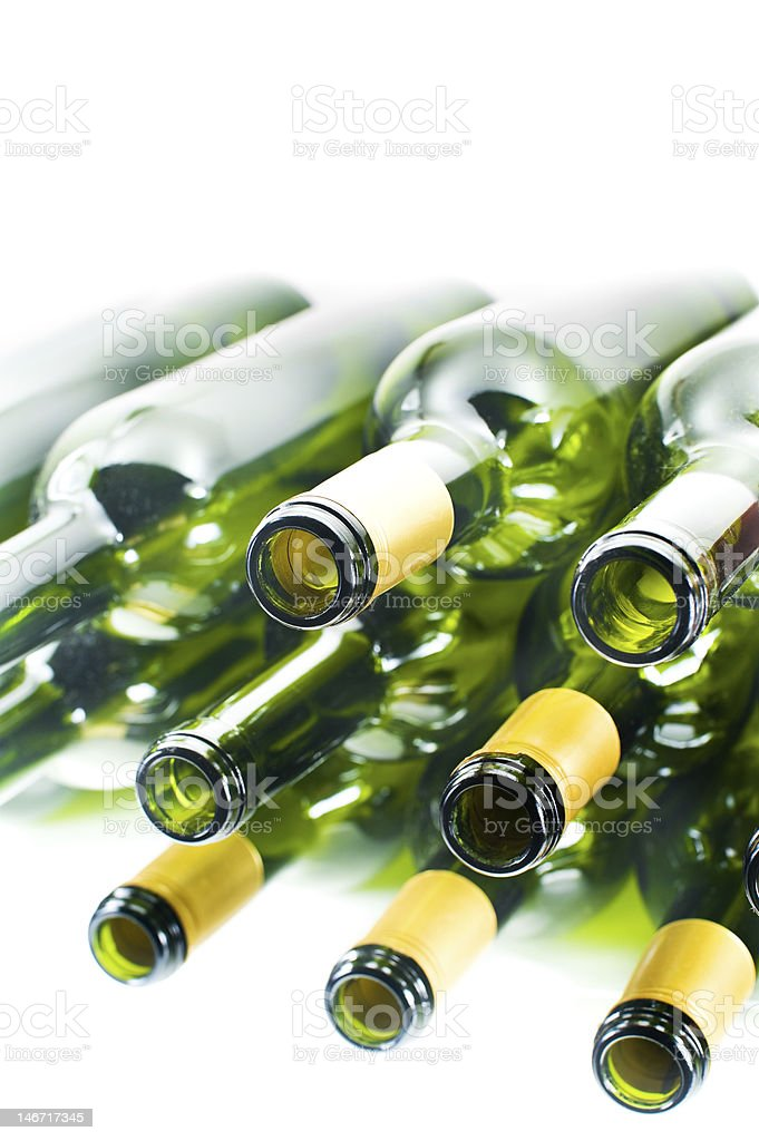 Sparkling Empty Wine Bottles royalty-free stock photo