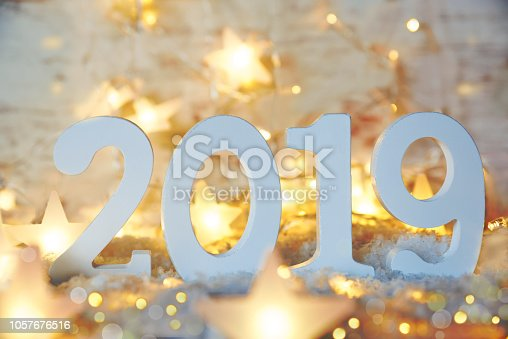 istock Sparkling Fairy Lights, Stars, 2019 For Happy New Year 1057676516