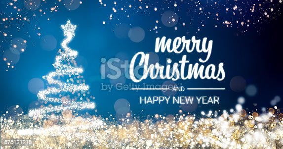 865140324 istock photo sparkling gold and silver lights xmas tree Merry Christmas and Happy New Year greeting message on blue background,snow flakes,bright lights decoration.Elegant holiday season social post digital card 875121218