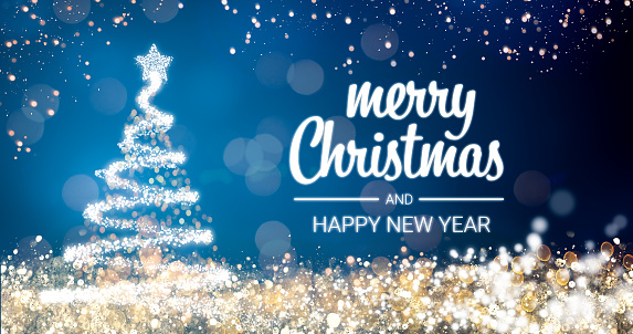 Sparkling Gold And Silver Lights Xmas Tree Merry Christmas And Happy New Year Greeting Message ...
