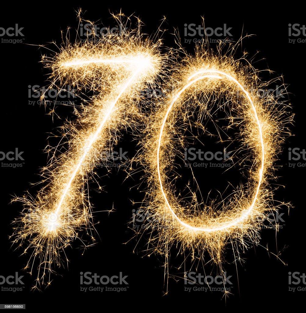 Sparkling Golden Celebration Number Seventy 70th Birthday