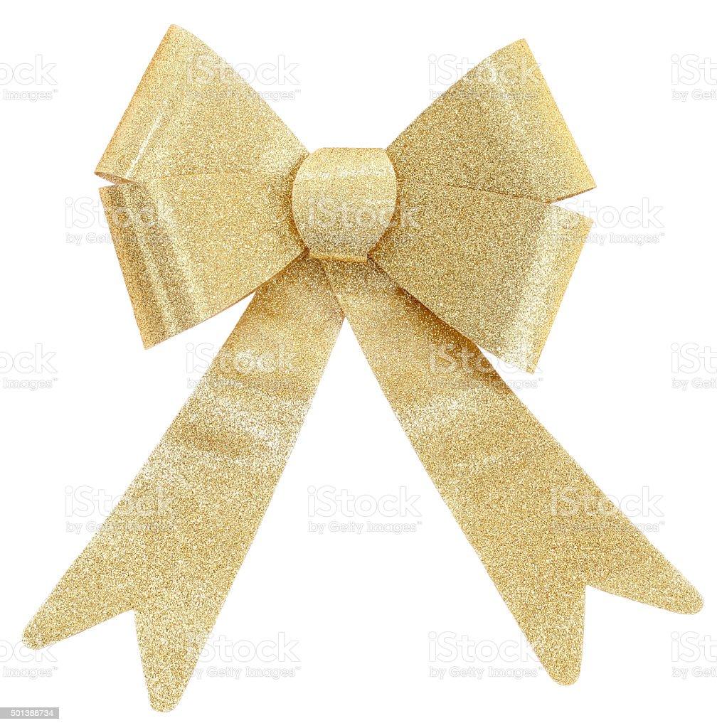 Sparkling golden gift bow or Christmas decor stock photo