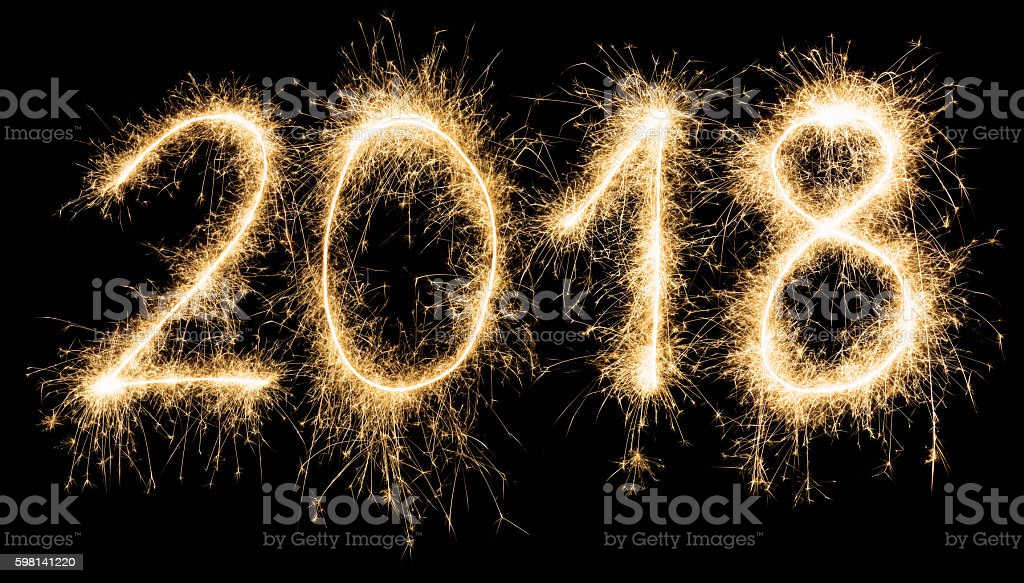 Sparkling golden New Year 2018 stock photo