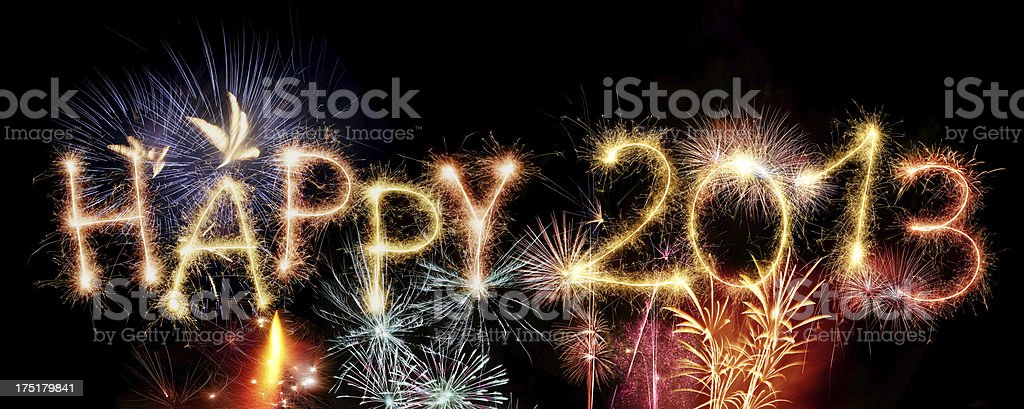 Sparkling Happy 2013 With Fireworks royalty-free stock photo