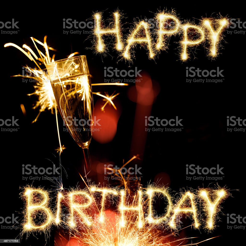 Sparkling Happy Birthday With Champagne Glass Stock Photo