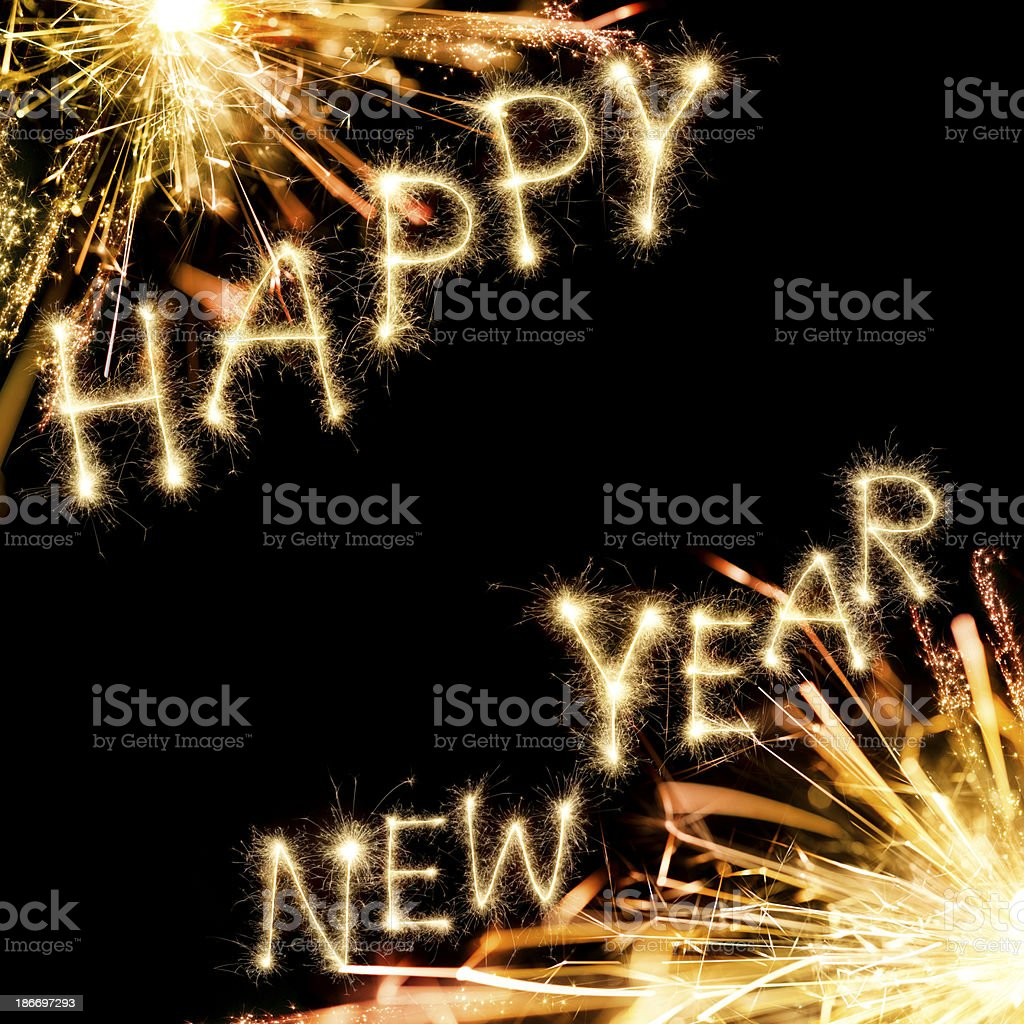 Sparkling Happy New Year royalty-free stock photo