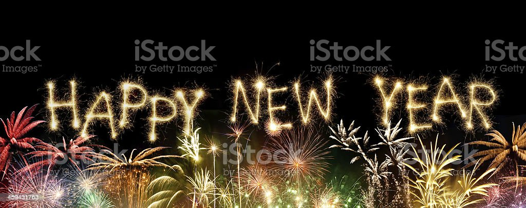 Sparkling Happy New Year With Fireworks royalty-free stock photo