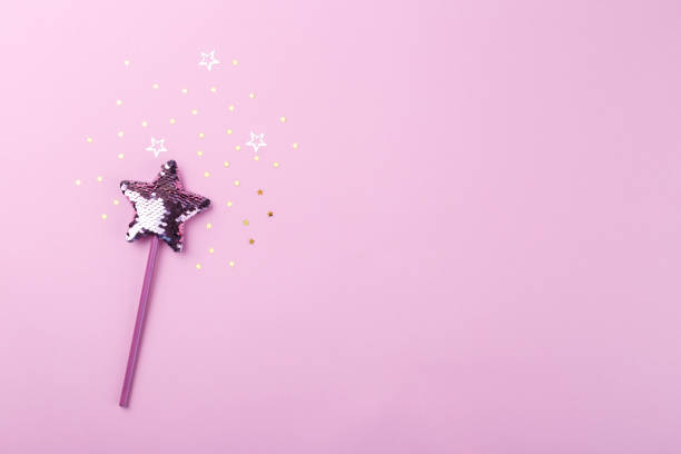 sparkling magic wand - fairy wand stock photos and pictures