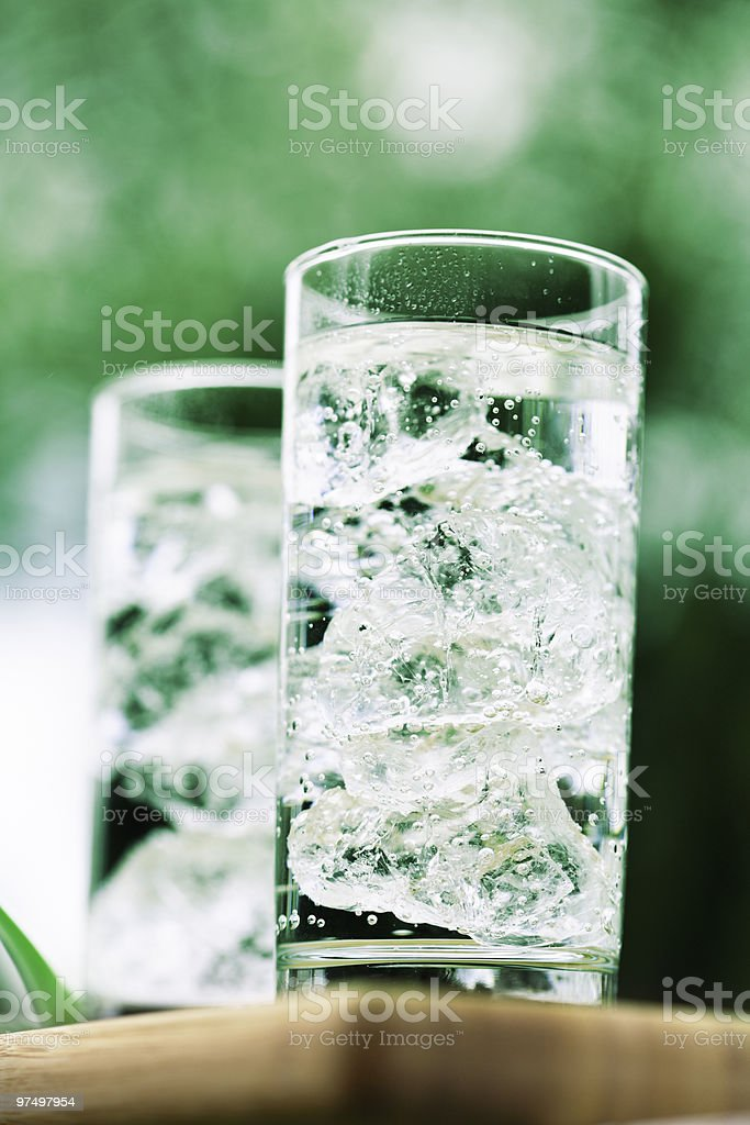 sparkling mineral water with icecubes royalty-free stock photo