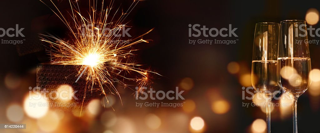 Sparkling new year wishes - foto de acervo