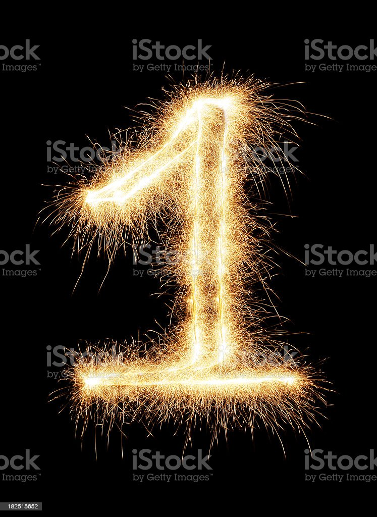 Sparkling Number 1 royalty-free stock photo