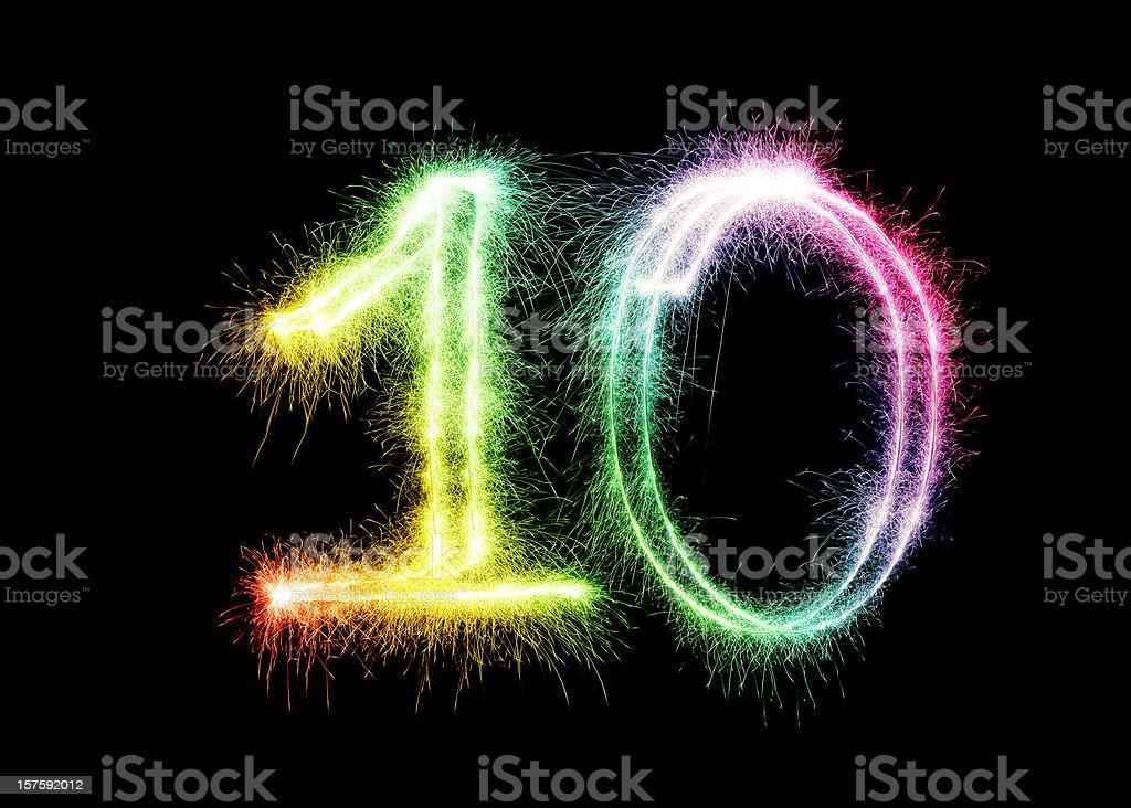 Sparkling Number 10 (XXL) stock photo