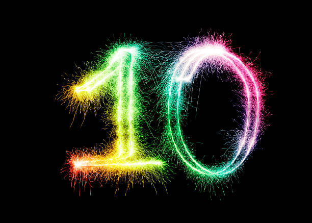 sparkling number 10 (xxl) - number 10 stock photos and pictures