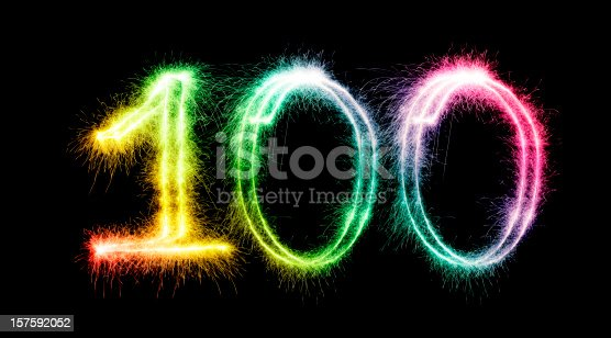 Sparkling multi colored number 100 on a pure black background. Can be used for birthdays, anniversaries.