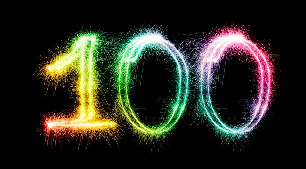 glitzernde nummer 100 (xxxl - nummer 100 stock-fotos und bilder