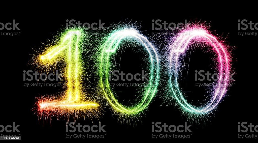 Sparkling Number 100 Stock Photo - Download Image Now