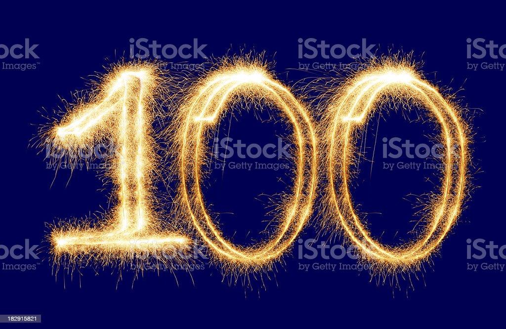 Sparkling Number 100 (XXL) stock photo