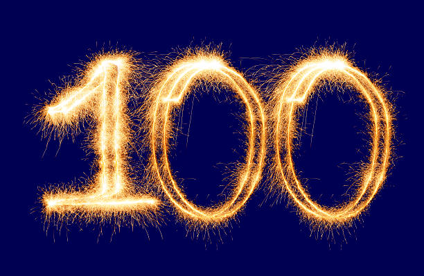 glitzernde nummer 100 (xxl - nummer 100 stock-fotos und bilder