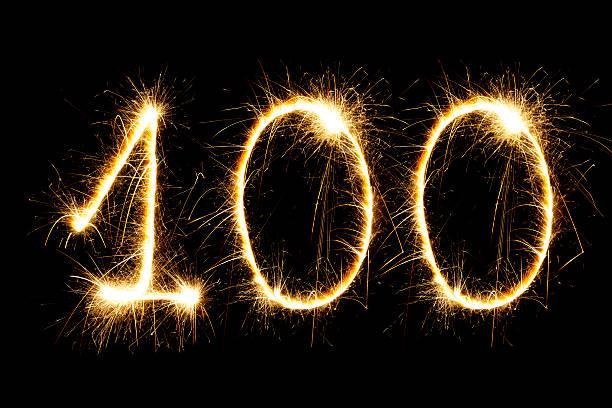 glitzernde nummer 100 - nummer 100 stock-fotos und bilder