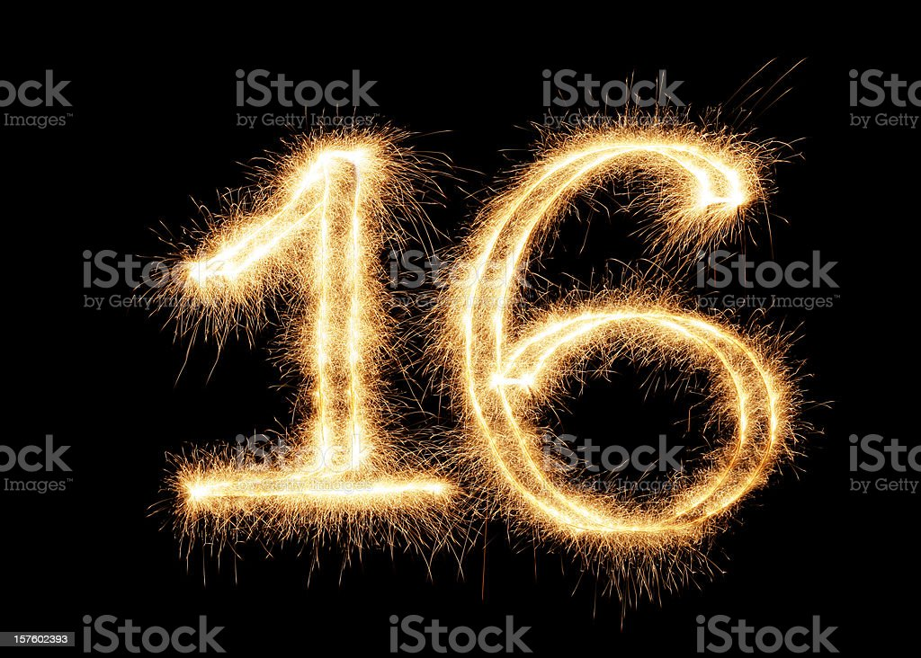 Sparkling Number 16 (XXL) royalty-free stock photo