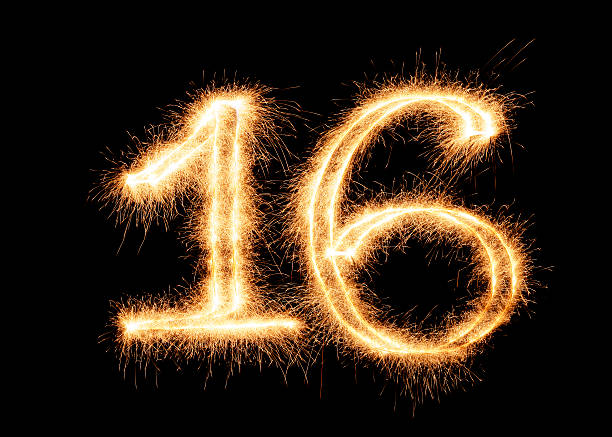 sparkling number 16 (xxl) - number 16 stock photos and pictures