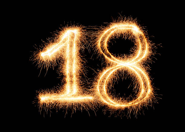 sparkling number 18 (xxl) - number 18 stock photos and pictures