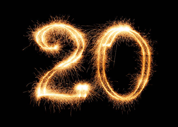 sparkling number 20 (xxl) - number 20 stock photos and pictures