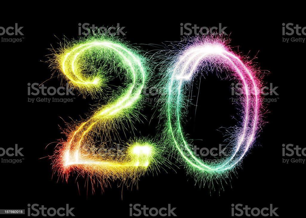 Sparkling Number 20 (XXL) stock photo