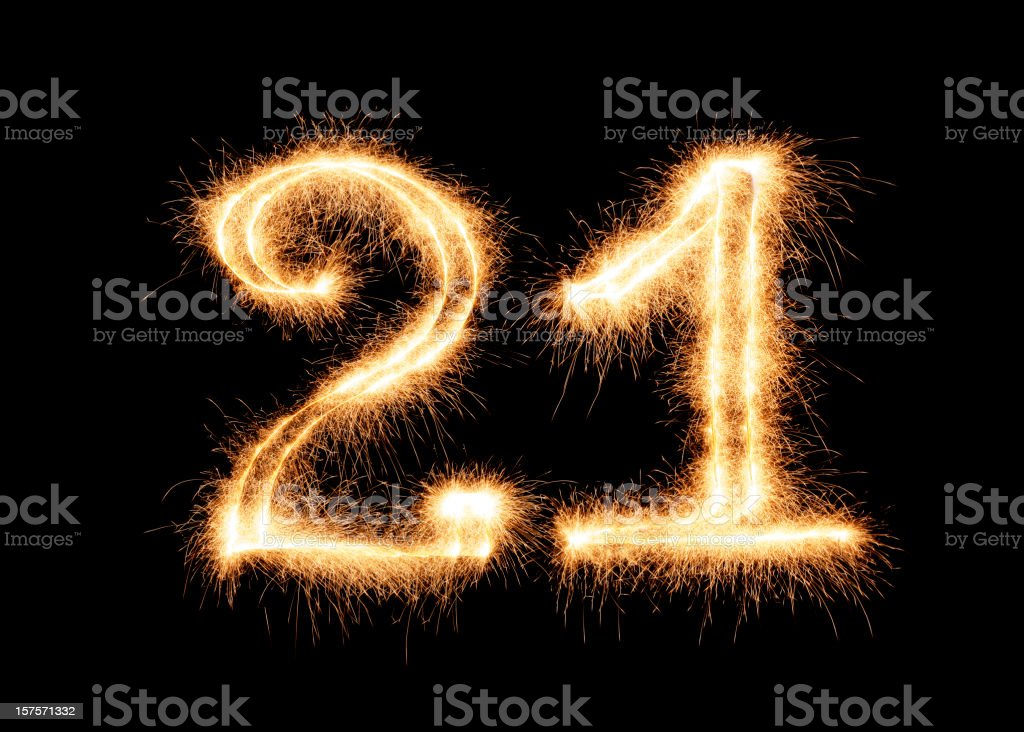 Sparkling Number 21 (XXL) royalty-free stock photo