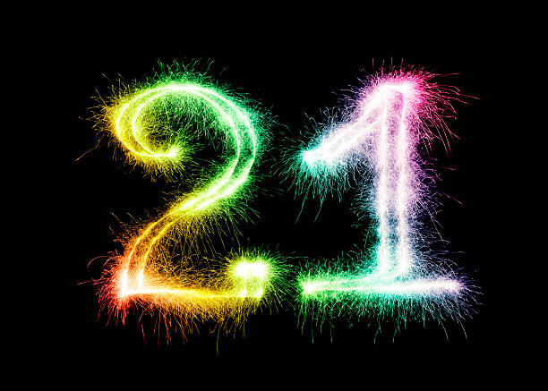 sparkling number 21 (xxl) - number 21 stock photos and pictures