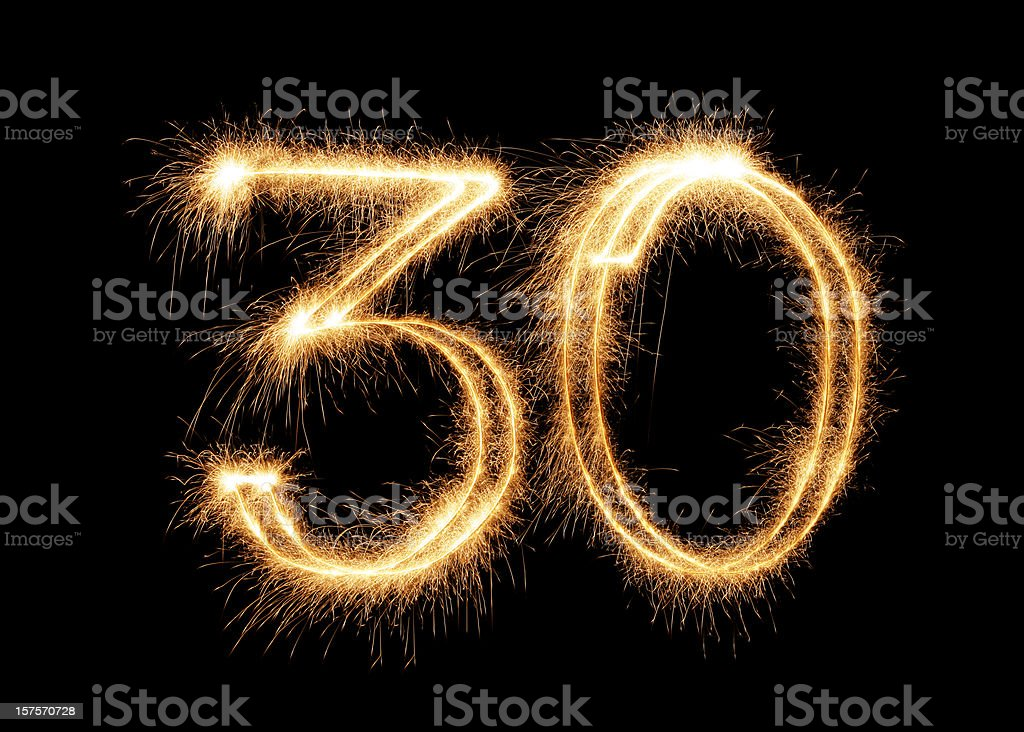 Sparkling Number 30 (XXL) stock photo