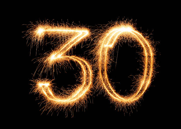 sparkling number 30 (xxl) - number 30 stock photos and pictures