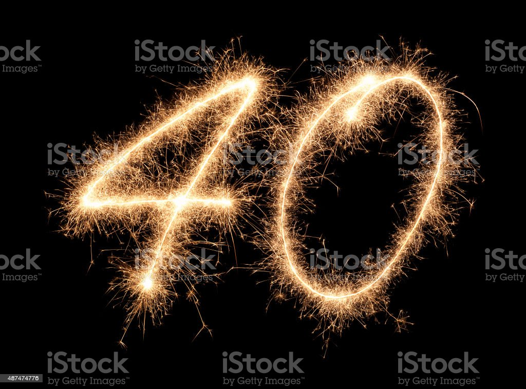 Sparkling Number 40 stock photo