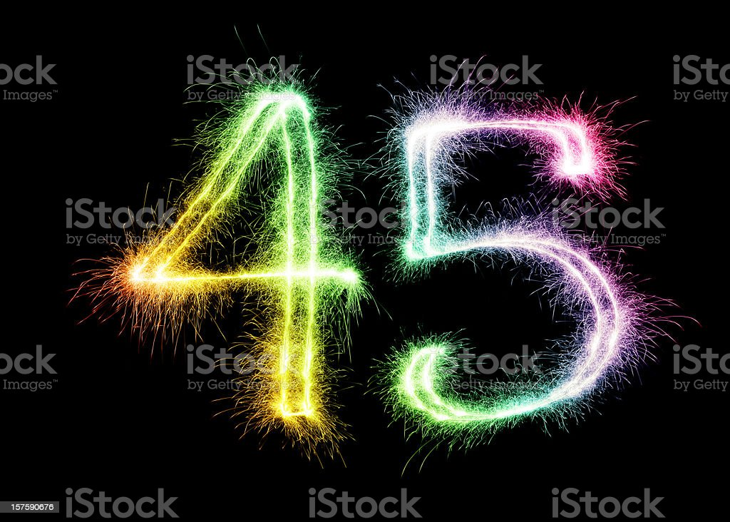 Sparkling Number 45 (XXL) stock photo