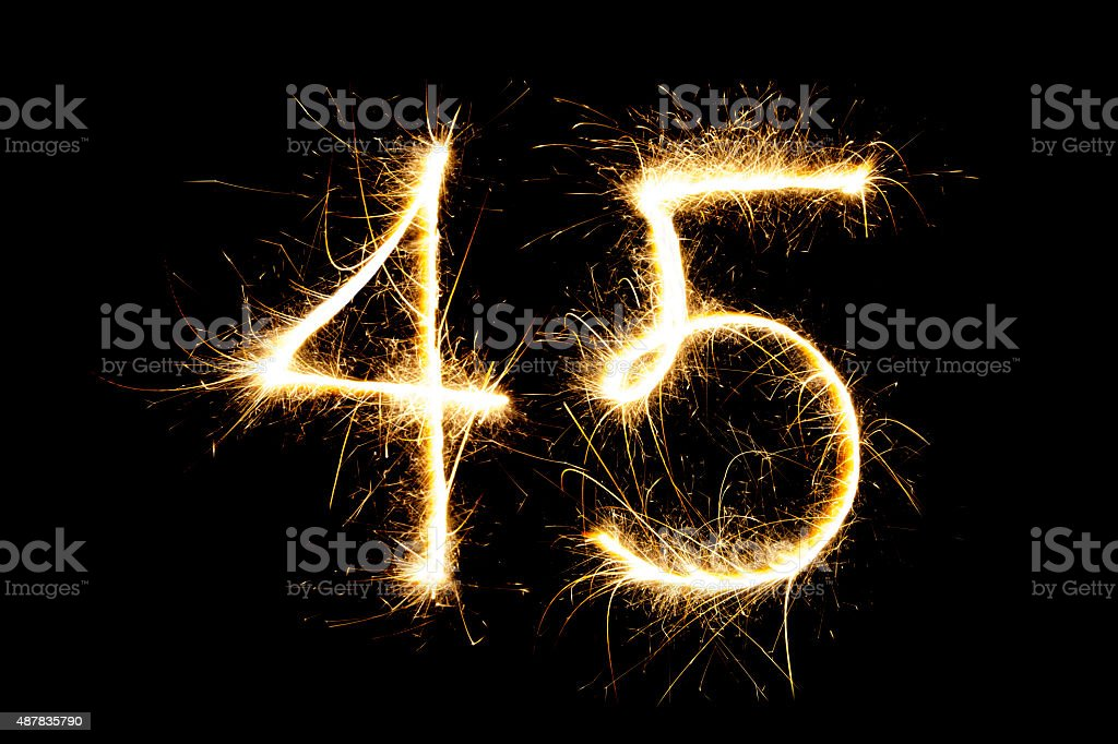Sparkling number 45 stock photo
