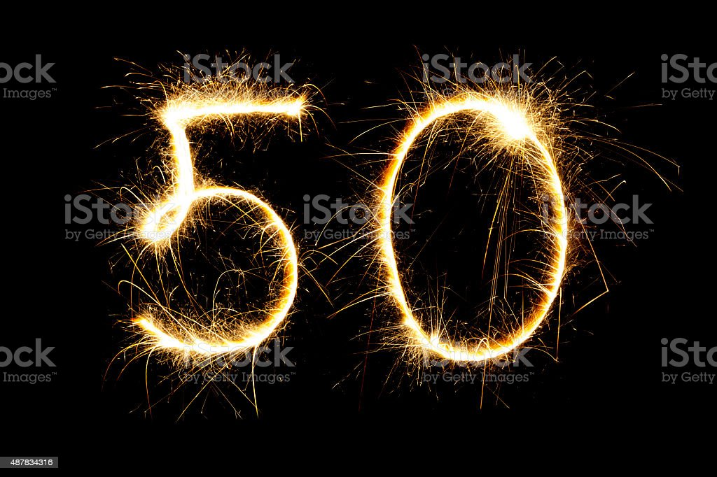 Sparkling number 50 stock photo