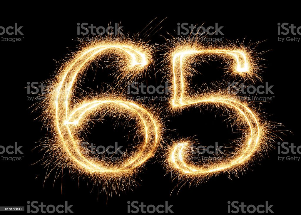 Sparkling Number 65 (XXL) stock photo
