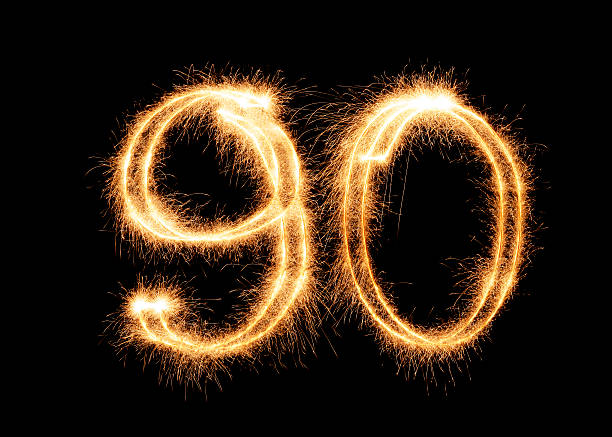 sparkling number 90 (xxl) - number 90 stock photos and pictures