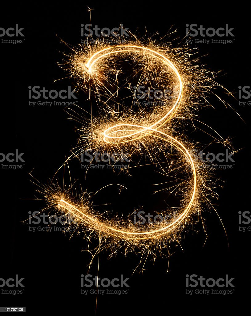 Sparkling number Three royalty-free stock photo