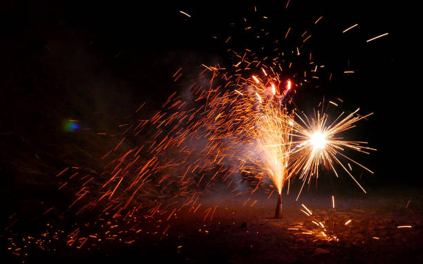 Sparkling pyro fountain firework volcano on new year's eve celebration Sparkling pyro fountain firework volcano on new year's eve celebration pyrotechnic effects stock pictures, royalty-free photos & images